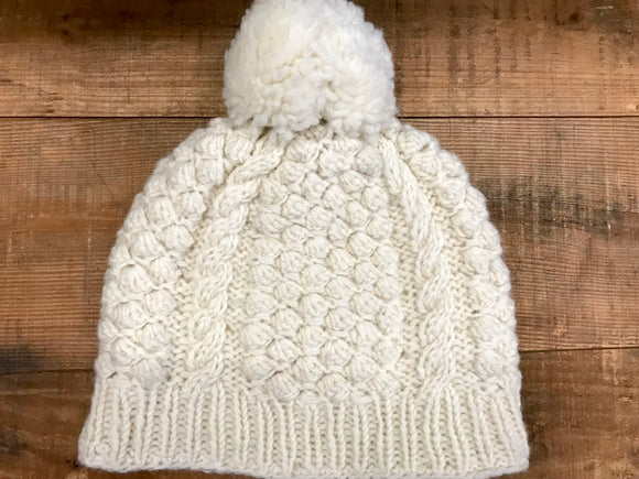 Aran Cable Hand Knit Hat with Pom...Natural