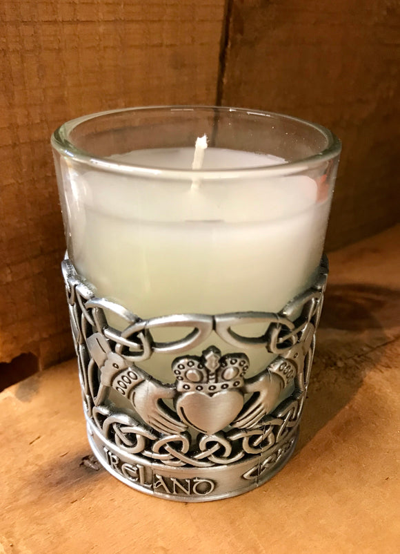 Pewter Claddagh Candle Holder -  Mary-Anne's Irish Gift Shop
