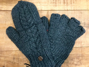 Aran Cable Hand Knit Mittens...Charcoal -  Erin Knitwear