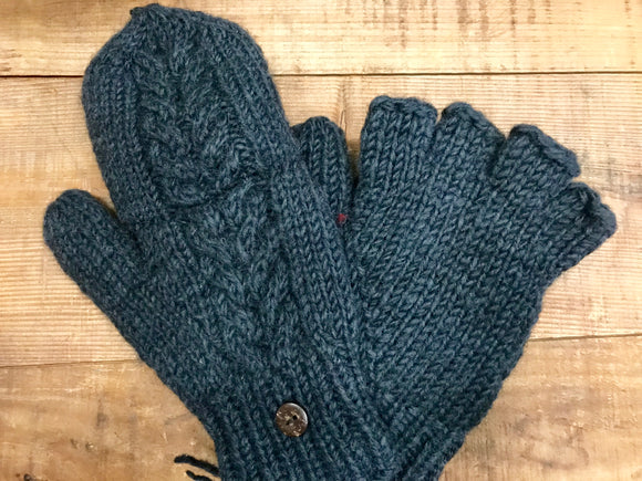 Aran Cable Hand Knit Mittens...Charcoal
