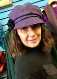 Ladies Purple Irish Tweed Herringbone Cap -  Muckross Weavers