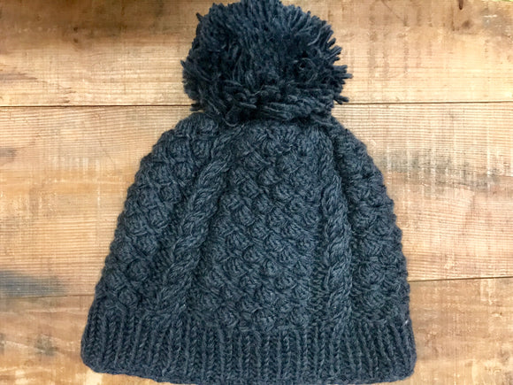 Aran Cable Hand Knit Hat with Pom...Charcoal