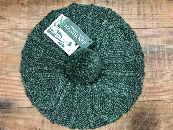 Aran Cable Hand Knit Tam...Moss Green