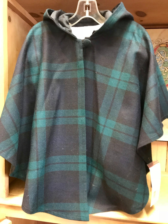 Blackwatch Tartan Wool Hooded Cape -  O'Neills