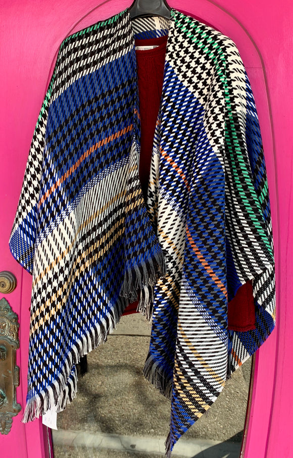 Ladies Houndstooth Fringed Wrap -  Patrick Francis