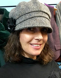 Ladies Salt & Pepper Irish Tweed Herringbone Cap -  Muckross Weavers