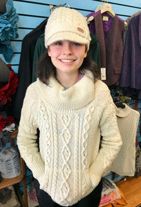 Fisherman Aran Cable Knit Sweater with Roll Nick and Pockets -  Carraig Donn