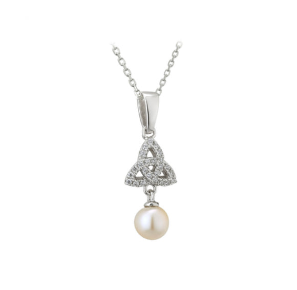 Sterling Silver Trinity Knot Pendant with freshwater pearl and CZ -  Solvar