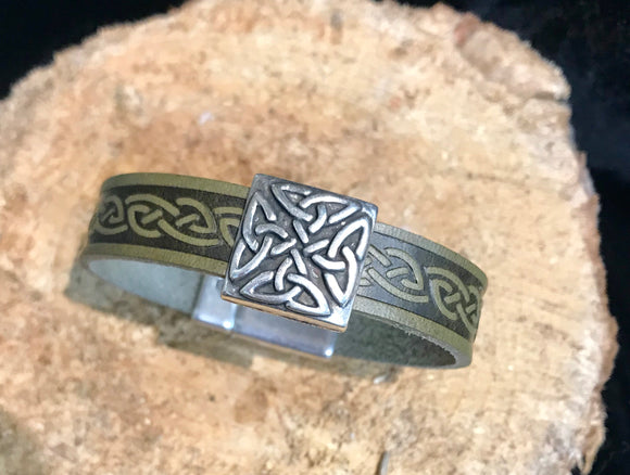 Celtic Leather Cuff with Eternity Knot