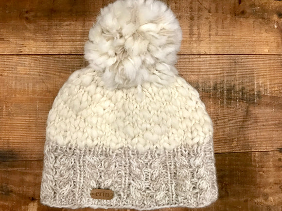 Aran Cable Hand Knit Hat with Pom...Oatmeal & Natural