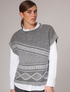 Fisherman Out of Ireland Two Tone Aran Cable Cropped Sleeve Sweater