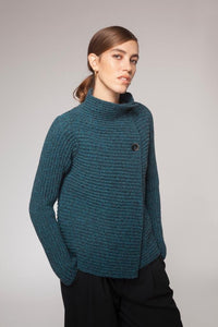 Fisherman Out of Ireland Horizontal Ribbed Cardigan Turquoise Marl