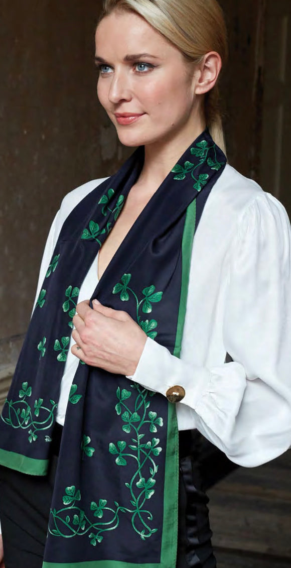 Silk Scarf with Sprigs of Shamrock