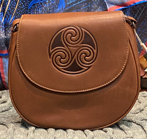 Celtic Knot Leather Saddle Bag ~ Brown