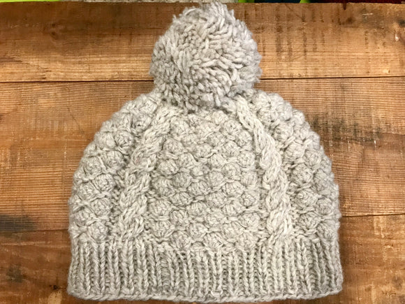 Aran Cable Hand Knit Hat with Pom...Oatmeal