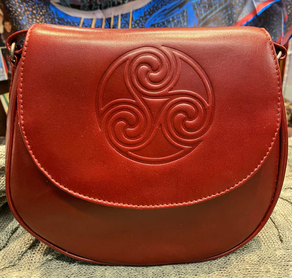 Celtic Knot Leather Saddle Bag ~ Red