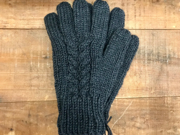 Aran Cable Hand Knit Gloves...Charcoal -  Erin Knitwear