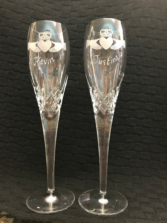 Galway Crystal Claddagh Toasting Flutes -  Mary-Anne's Irish Gift Shop