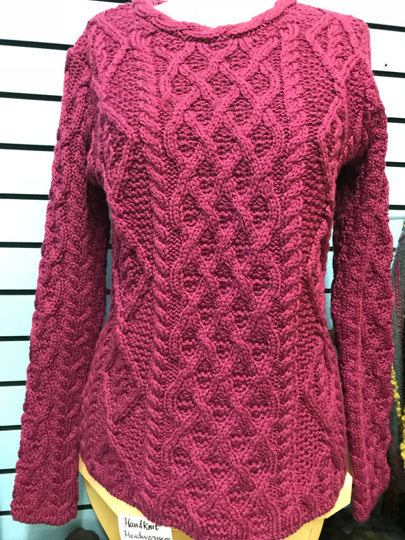 Fisherman Ladies Fitted Aran Crew...Magenta -  Fisherman Out of Ireland