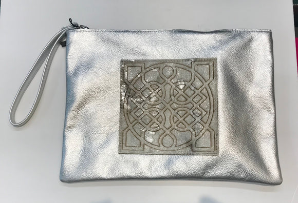 Leather Celtic Clutch Silver Wristlet -  Owen Barry