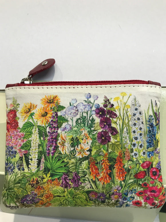 Leather Irish Wildflower Zipped Purse