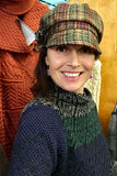 Ladies Brown Windowpane  Irish Tweed Herringbone Cap -  Muckross Weavers