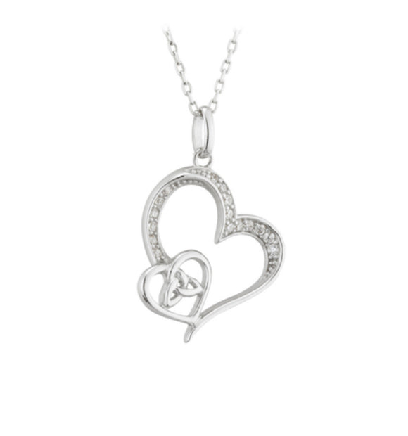 Sterling silver Trinity Knot Double Heart Pendant -  Solvar
