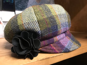Ladies Green Plaid Irish Tweed Newsboy Cap -  Muckross Weavers
