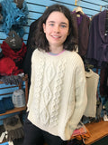 Fisherman Aran Cable Knit Sweater with Slits -  Carraig Donn