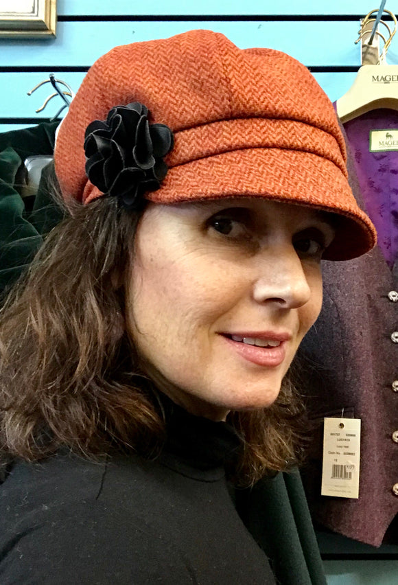 Ladies Orange Irish Tweed Herringbone Cap -  Muckross Weavers