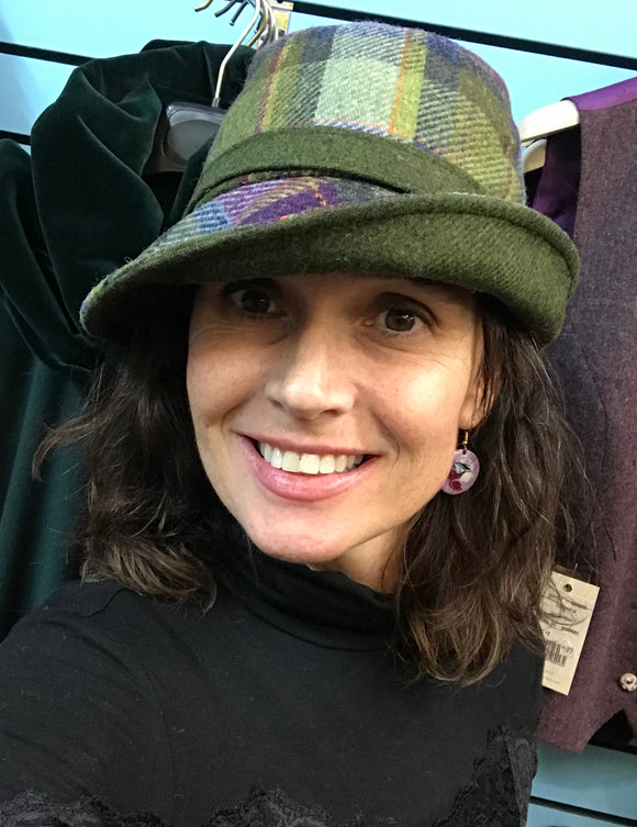 Ladies Green Plaid Irish Tweed Herringbone Hat