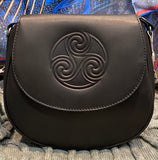 Celtic Knot Leather Saddle Bag ~ Black