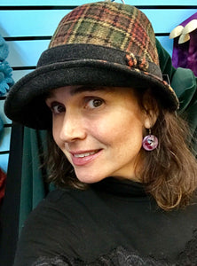 Ladies Brown Windowpane  Irish Tweed Herringbone Hat