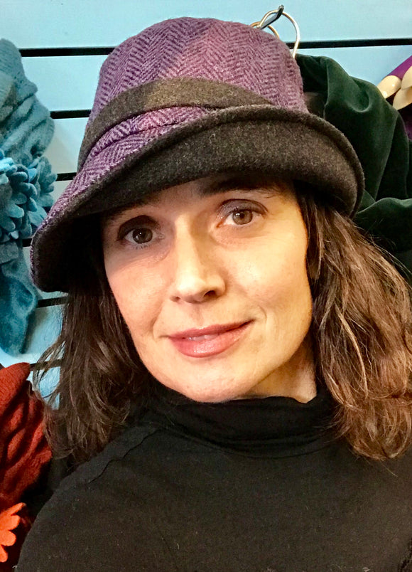 Ladies Purple Irish Tweed Herringbone Hat -  Muckross Weavers