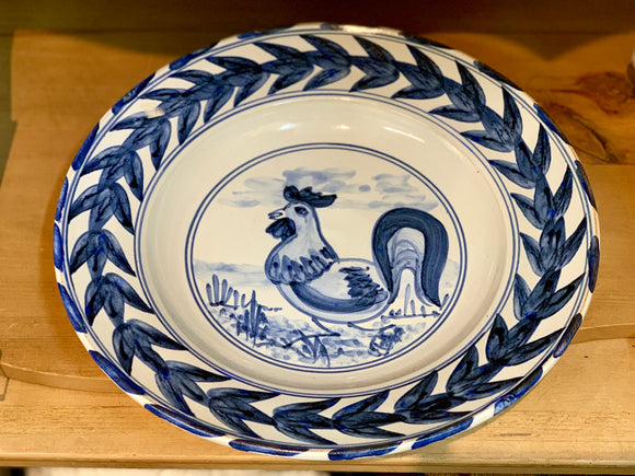 Earthenware Hand Painted Rooster XL Bowl