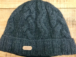 Aran Cable Hand Knit Hat ...Charcoal -  Erin Knitwear