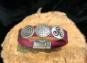 Celtic Leather Cuff with Eternity Knots -  Lee River