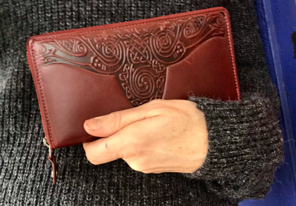 Celtic Knot Leather Zip Around Large Wallet