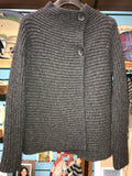 Fisherman Out of Ireland Horizontal Ribbed Cardigan Charcoal