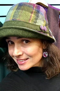 Ladies Green Plaid Irish Tweed Herringbone Hat -  Muckross Weavers