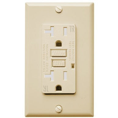 20 Amp Receptacle - GFCI Duplex Outlet - Tamper Resistant - Ivory 120V - Ground Fault Circuit Interrupter - UL Listed - Wall Plate Included Four Bros Lighting