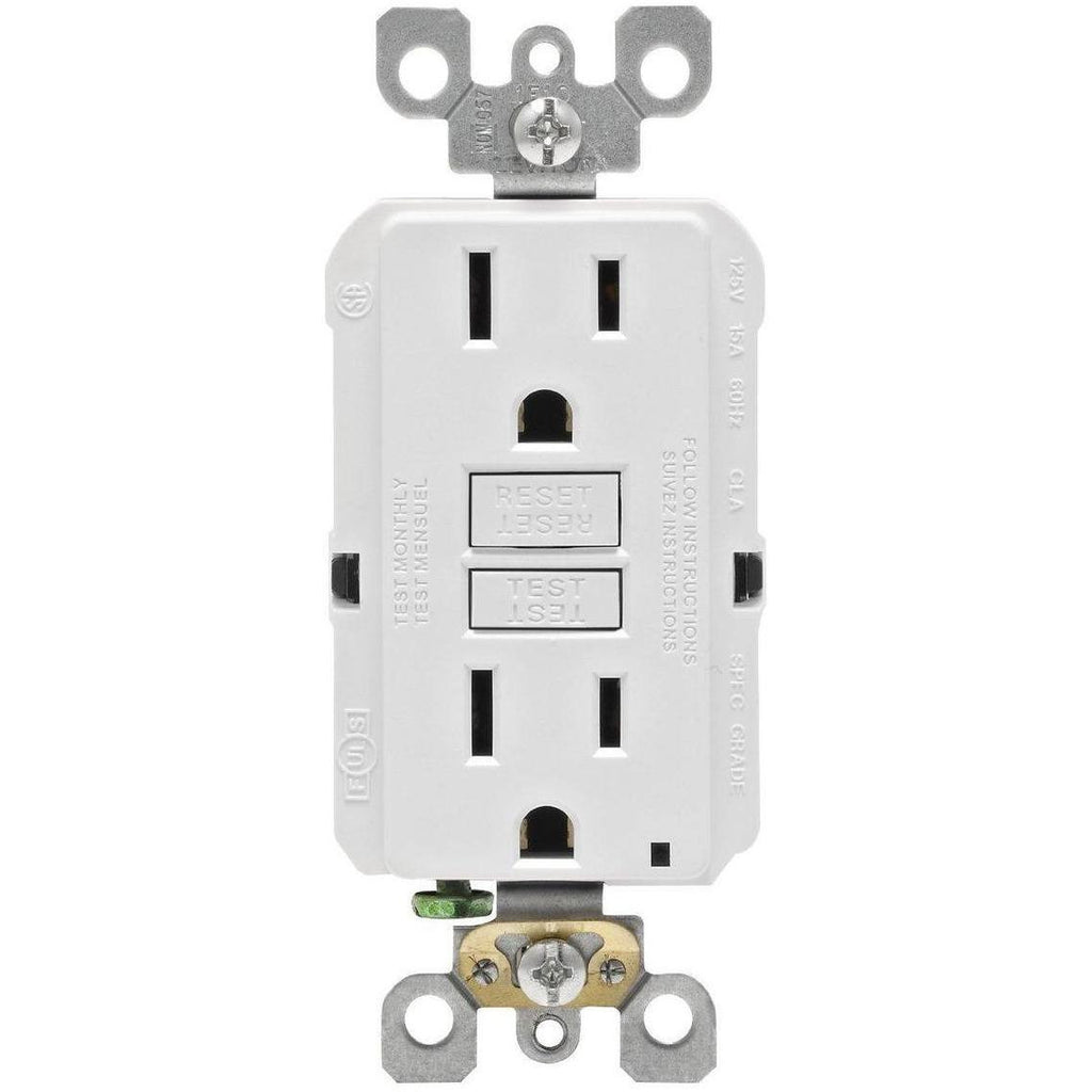 20 Amp Self-Test Receptacle - GFCI Duplex Outlet - Tamper Resistant White - UL943 - 120V - Ground Fault Circuit Interrupter - UL Listed - Wall Plate Included Four Bros Lighting