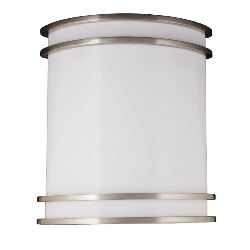 LED Saturn Wall Scone Fixture - 10 Inch - 15W - Nickel Satin - 3000K - 3000K - Wet Location LED Wall Scone Four Bros Lighting