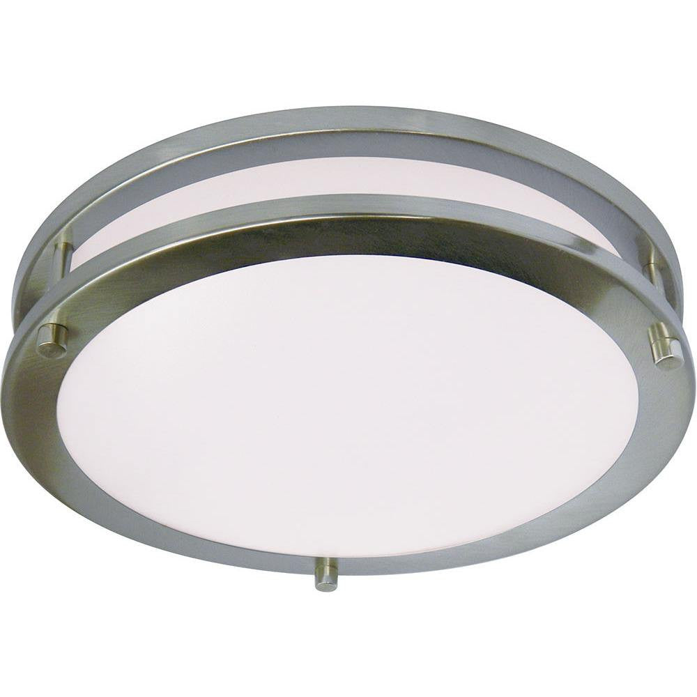 "12"" 15W LED Saturn Ceiling Fixture Nickle Satin, Opal Lens  Four Bros Lighting"