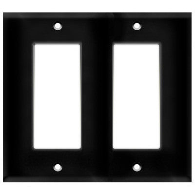 Decorator Wall Plate - Black - 2 Gang Decorator Wall Plate - Thermoplastic - 4.5 x 4.5 - Screws Included - UL Listed Four Bros Lighting