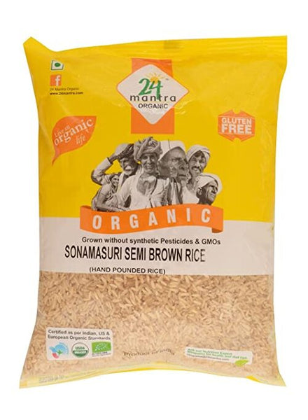 24 Mantra Organic Semi Brown Sona Masoori Rice - Singal's - Indian Grocery Store