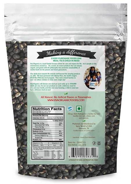 Indian Grocery Store Jiva Organic Urad Dal Whole 2 Lbs Singal S