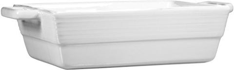 2.25 Qt White Two-Tone Double Handle Rectangular Baker