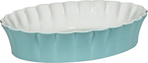 "3.5 Qt Betty Aqua 14""L Oval Baker"