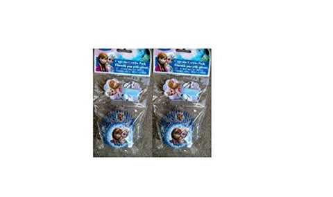 18 Frozen Paper Cupcakes Baking Cups & Decorative Picks (Pack of 2)
